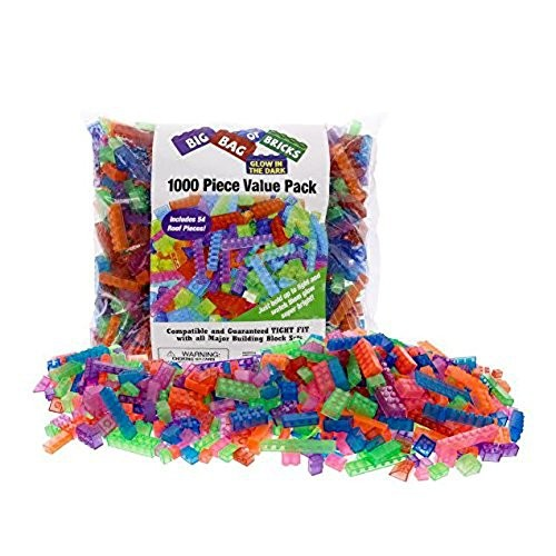 SCS Direct Building Bricks – 1000 Pc Big Bag of Bulk Glow in The Dark Blocks with 54 Roof Pieces Tight Fit All Major Brands
