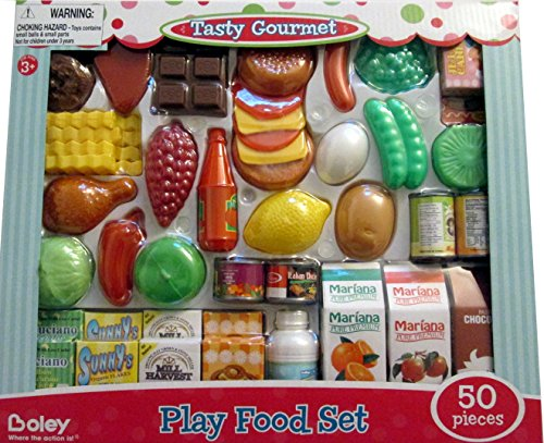 Farmer's Market Pretend Food Playset – 50 Pieces With 1 Bonus Sesame Street Coloring & Activity Book Bundle Kids Will Love Serving up Gourmet Meals This Play Assortment Set