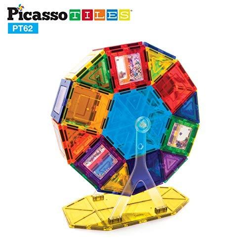 PicassoTiles PT62 Kids Toy Building Block Ferris Wheel Set LED Light Children Construction Kit Magnet Tiles