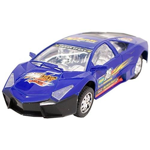 TECHEGE Toys Blue Racing Lambo Super Car Self Driving Bump'n'Go Race Car Realistic Sounds