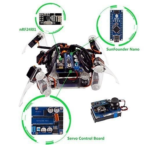 SunFounder Remote Control Crawling Robotics Model DIY Kit for Arduino Electronics Servo Motor RC Smart Toys Detail Manual