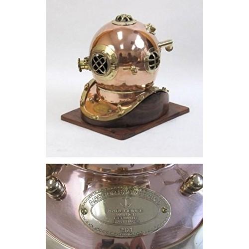 NauticalMart Copper Diver Helmet Mark V with Wooden Base Karl Heinke – Anchor Engineering