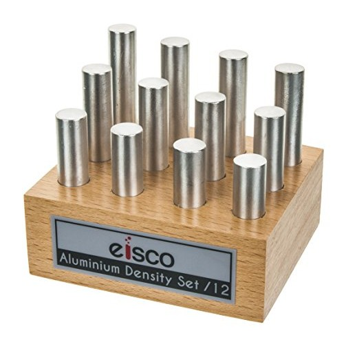 Aluminum Masses for Density Exploration Set of 12 Cylinders with Wooden Holder Varied Lengths and 05 Diameter – use Specific Gravity Activities Eisco Labs