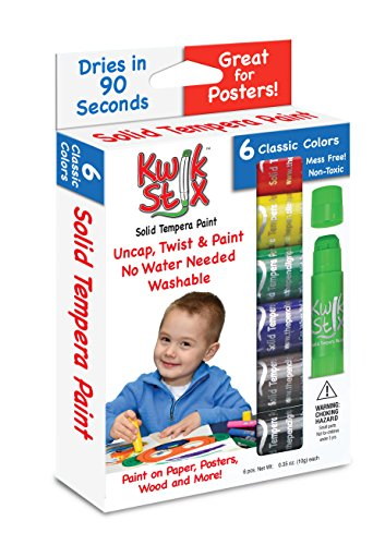 The Pencil Grip Kwik Stix Solid Tempera Paint Super Quick Drying 6 Pack TPG-601