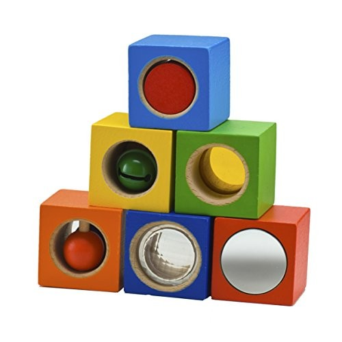 HABA Stack & Learn Blocks – 6 Colorful Wooden Cubes with Accoustic Optical Effects for Ages 12 Months and Up