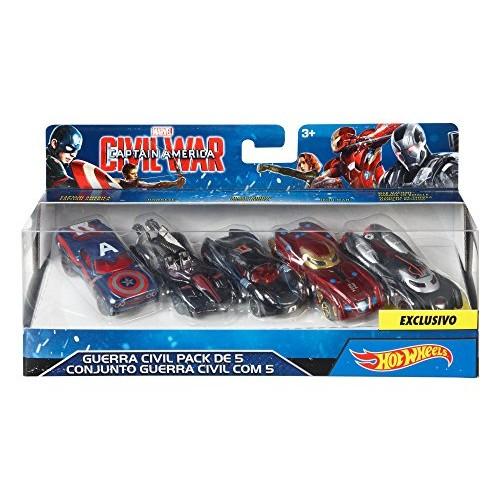 Hot Wheels Marvel Captain America Civil War Character Car (5 Pack)
