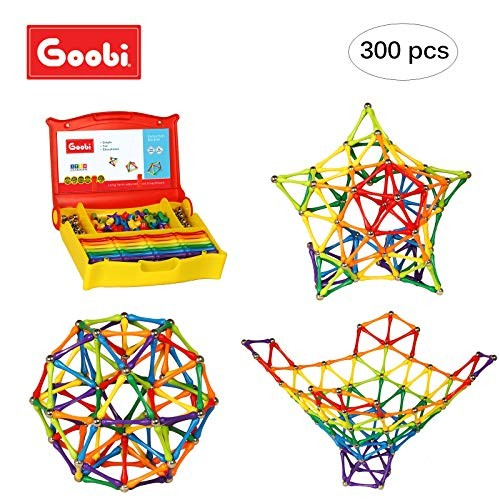 Goobi 300 Piece Construction Set with Instruction Booklet STEM Learning Assorted Rainbow Colors