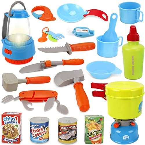Little Explorers Kids Camping Gear Survival Kit Toy Tools Indoor Outdoor Nature Pretend Play Set 20 Pieces