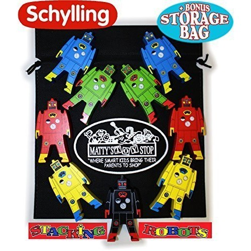 Schylling Wood Stacking Robots Deluxe Set with Bonus Matty's Toy Stop Storage Bag
