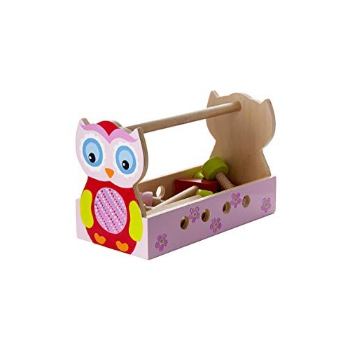 Mousehouse Gifts Quality Girls Pink Owl Pretend Play Wooden Tool Box Kit for Kids Gift Present