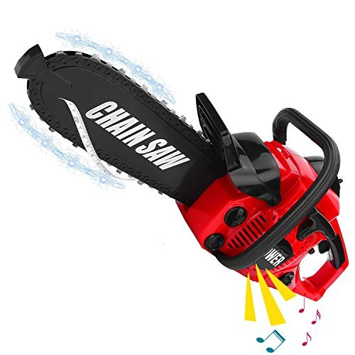 Liberty Imports Power Construction Tool Electric Chainsaw Toy Play Set with Rotating Chain and Realistic Sounds – Kids Pretend Garden Yardwork