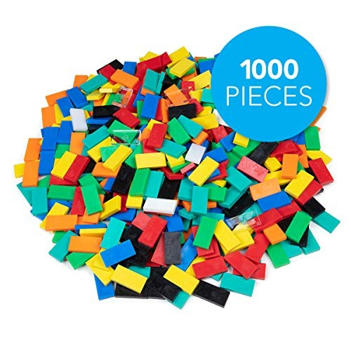 Bulk Dominoes Plastic Classic Mixed 1000pcs Building and Stacking Chain Reaction Toppling STEAM Toy Blocks for Kids