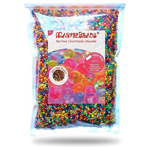 MarvelBeads Water Beads Rainbow Mix Half Pound for Spa Refill Sensory Toys and Dcor Non-Toxic
