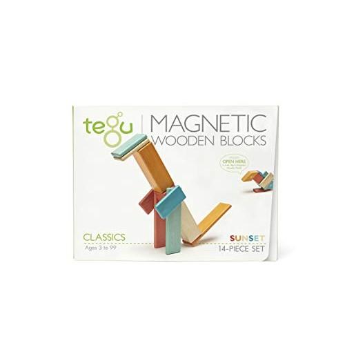 14 Piece Tegu Magnetic Wooden Block Set Sunset
