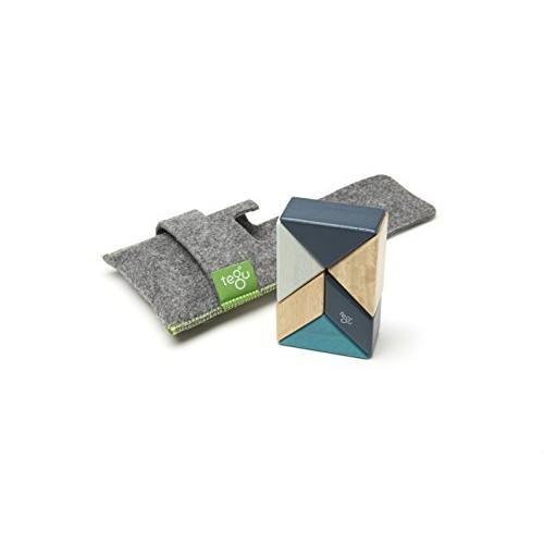 6 Piece Tegu Pocket Pouch Prism Magnetic Wooden Block Set Blues