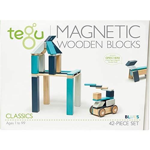 42 Piece Tegu Magnetic Wooden Block Set Blues