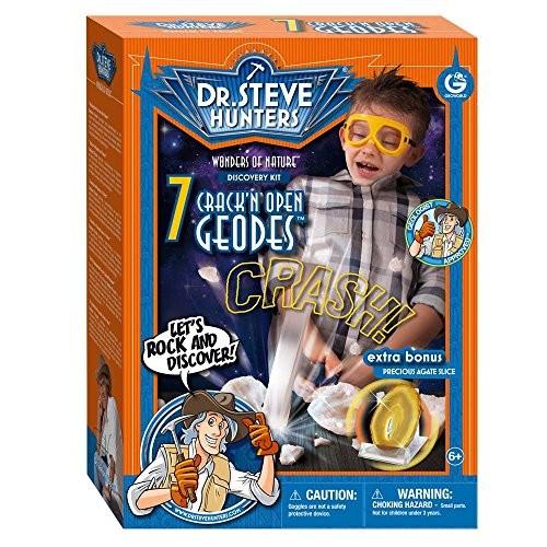 Geoworld Dr Steve Hunters Wonders of Nature 7 Crack'n open Geodes Plus Agate Cut Slice Kit