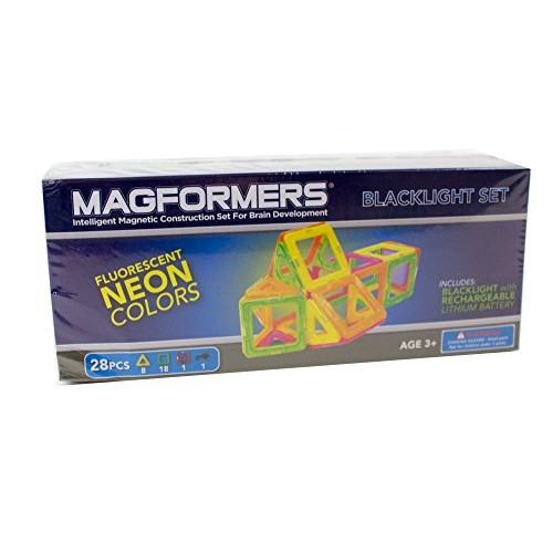 Magformers Neon Blacklight Set 28-Pieces Magnetic Building Blocks Educational Tiles Kit Construction STEM