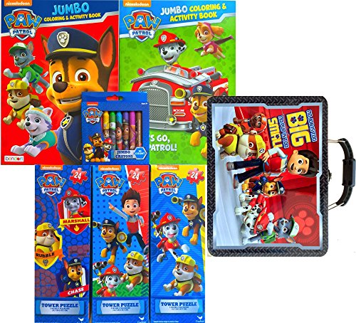 Paw Patrol Entertainment Gift Set Includes of 2 Jumbo Coloring and Activity Book with Tower Puzzles Handle Tin Box No Pup Is Too Small