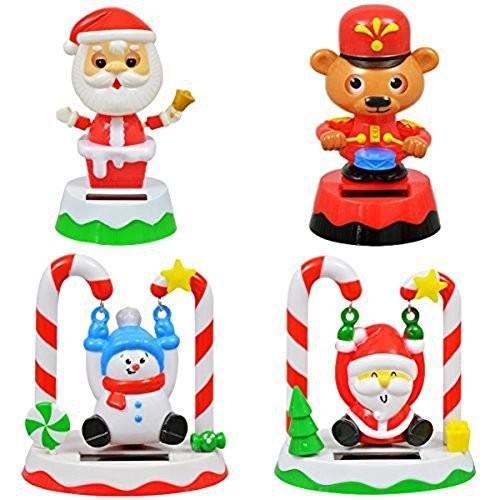 Christmas Solar Set of 4 Swinging Santa Snowman Drumming Bear & Bobblehead