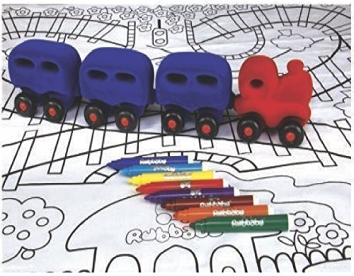 Rubbabu Magnetic Choo Train Set with Play Mat and Coloring Markers