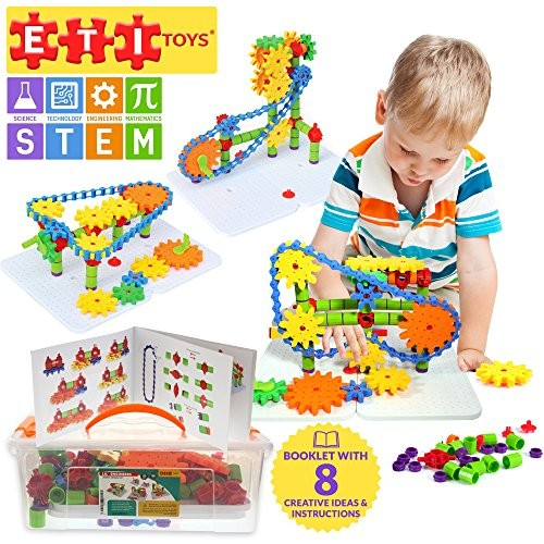 192 Piece Jumbo Gears Set with Resizeable Interlocking Chain Connector Pieces and 2 Pegboards Build Endless Designs Gift Toy for 3 4 5 Year Old Boys Girls