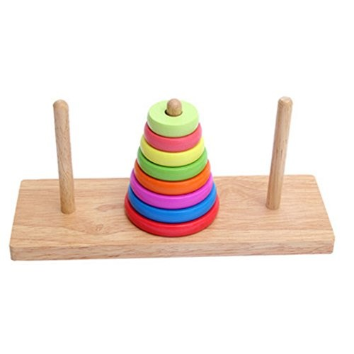 Kylin Express Wooden Multicolor Early Educational Round Superimposed Block Toys