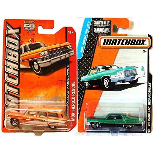1963 Cadillac Ambulance Matchbox & 1969 Cadillac Sedan Deville Adventure Car Retro Style set