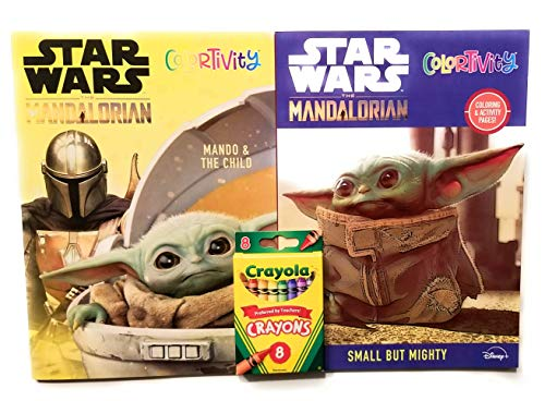 Star Wars The Child Mandalorian Activity Books Bundle – Includes 2 Crayola Crayons 8 pk Puzzles Cut Outs Coloring Mazes Educational