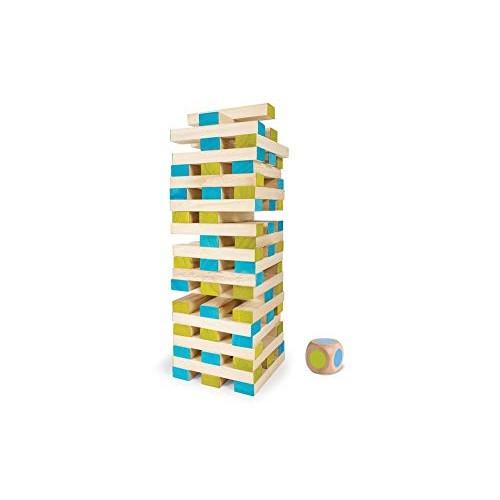 BuitenSpeel Toys GA277 Large Tower Wooden Block Stacking Game Natural Blue Green