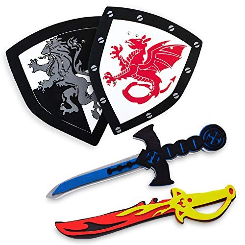 Super Z Outlet Children's Foam Toy Medieval Joust Dual Dragon Sword & Shield Knights Set Lightweight Safe for Birthday Party Activities Event Favors Gifts
