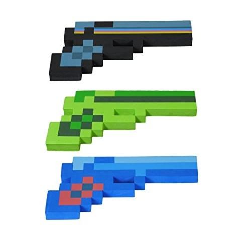 8BIT TOYS 8 Bit Pixelated Blue Diamond Black Stone & Green Zombie Foam Gun