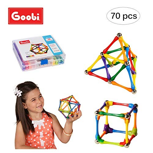 Goobi 70 Piece Construction Set Building Toy Active Play Sticks STEM Learning Creativity Imagination Childrens 3D Puzzle Educational Brain Toys for Kids Boys and Girls with Instruction Booklet