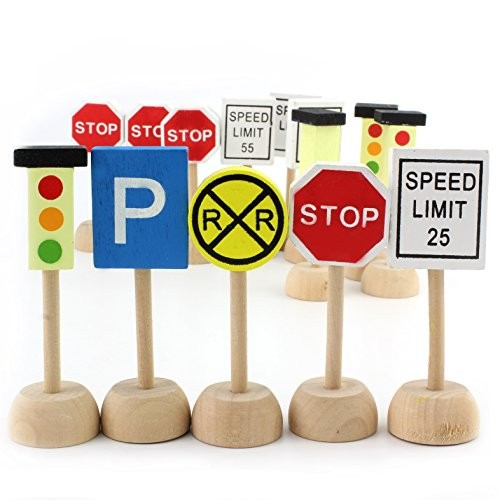 Attatoy Kids Wooden Street Signs Playset 14-Piece Set Wood Traffic Perfect for Car & Train Set