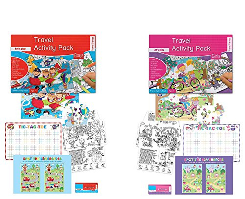 2 Travel Activity Packs 1 Boys & Girls Each Containing Puzzle Sheets and 4 Crayons Tic-Tac-Toe Jigsaw Word Search Coloring Dot to Spot The Difference More