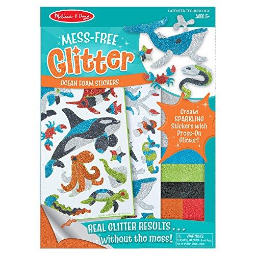 Melissa & Doug Mess-Free Glitter Ocean Foam Sticker Kit- 19 Stickers 6 Press-On Sheets