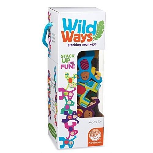 MindWare Wild Ways Stacking Wooden Animals Toys Monkeys