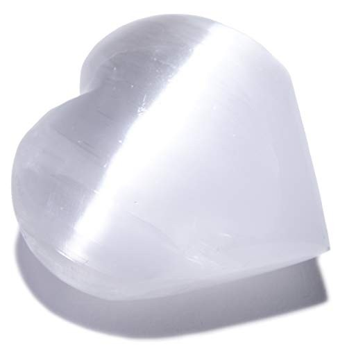 KALIFANO Selenite Heart Worry Stone with Healing & Calming Effects – High Energy Palm Used for Cleansing and Protection Information Card Included