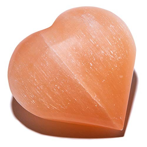 KALIFANO Orange Heart Selenite Worry Stone with Healing & Calming Effects – High Energy Palm Used for Cleansing and Protection Information Card Included