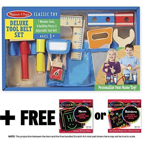 Melissa & Doug Deluxe Tool Belt Wooden Play Set 1 Scratch Art Mini-Pad Bundle 05174