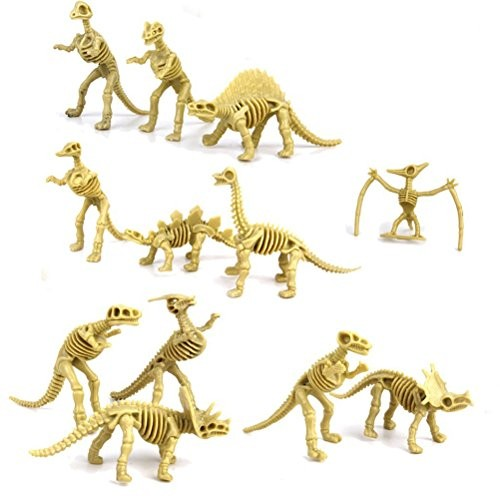 PIxNOR Assorted Dinosaur Fossil Skeleton Figures Kids Toy 12pcs Random Styles