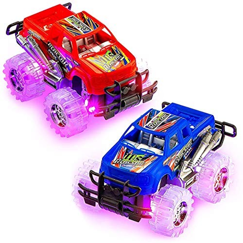 Kicko Light-Up Monster Trucks – 2 Pack Assorted Color Cars with Flashing Tires –