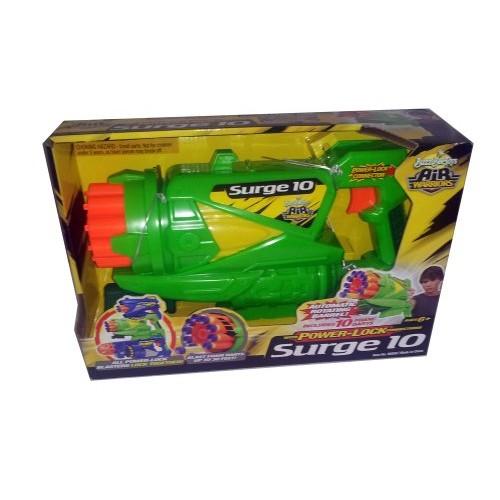 BuzzBee Toys Air Warriors Surge 10 Dart Gun with Power Lock Connections