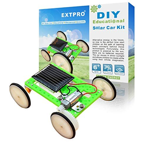 Extpro DIY Assemble Toy Set Solar Powered Car Kit Science Educational for Kids Students
