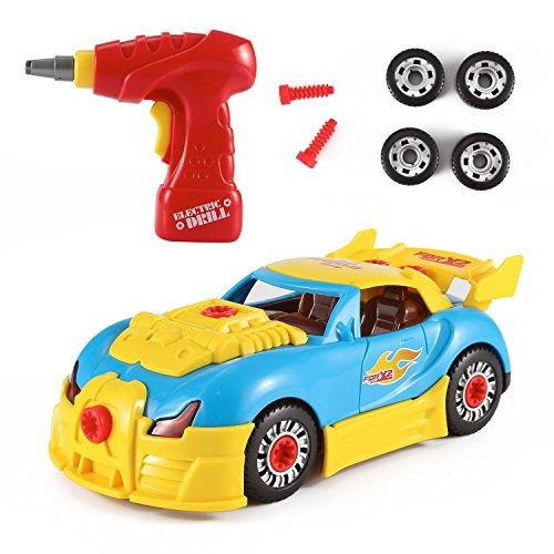 PowerTRC World Racing Car Take-A-Part Toy for Kids 30 Take Apart Pieces Tool Drill Lights and Sounds
