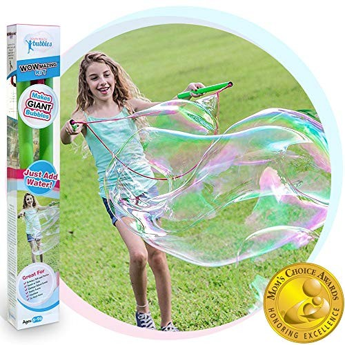 WOWMAZING Giant Bubble Wands Kit: (3-Piece Set) | Incl Wand Big Bubble Concentrate and
