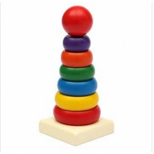 wichawa Kids Baby Toy Wooden Stacking Ring Tower Educational Toys Rainbow Stack Up Play