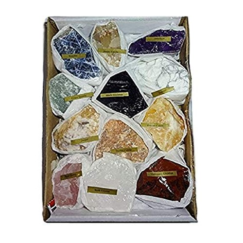 Sublime Gifts 12pc Premium Quality Rough Crystal Healing Gemstone Raw Metaphysical Mineral Stone Collection & Gift Box Set