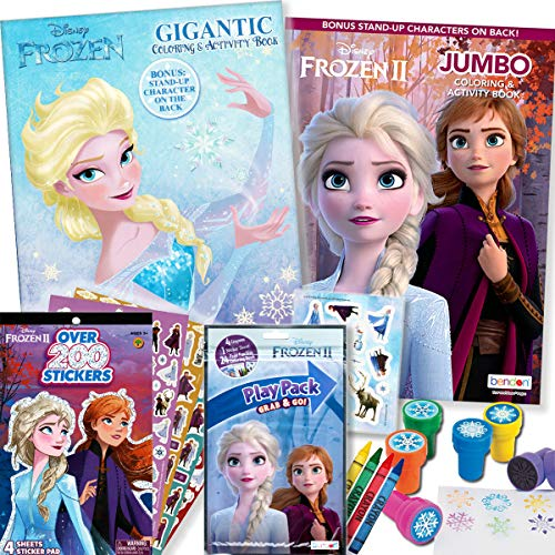 - Disney Frozen And 2 Coloring Book & Stickers Activity Deluxe Set -  Educational Toys Planet