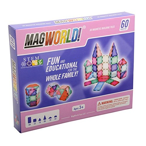 MagWorld Toys Magnetic Construction Pastel Colors-60 Piece Set Create 2D and 3D Shapes Figures & Architecture Beginner to Advanced STEM Play Age 3 Up